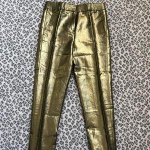 J CREW gold lame pants